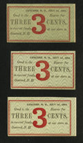 Obsoletes By State:New Hampshire, Concord, NH- Unknown Merchant's Scrip 3¢ July 1, 1864 Three Examples. ... (Total: 3 notes)