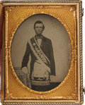 Photography:Ambrotypes, Quarter Plate Ambrotype of a Young Man Wearing Masonic Garb, Circa 1860....