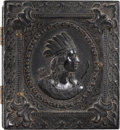 "Photography:Tintypes, Black Sixteenth Plate Thermoplastic Case ""Indian Profile.""..."