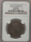 Colonials, 1722 2PENCE Rosa Americana Twopence XF45 NGC. Martin 3-C, W-1326,R.6....