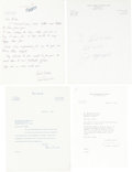 Baseball Collectibles:Others, Baseball Stars Signed Letters Lot of 4....