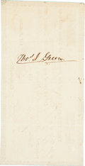 "Autographs:Statesmen, Thomas Jefferson Green Republic of Texas Certificate Endorsed. Onepage, 5.5"" x 2.75"", Houston, January 7, 1839, ""for the ..."