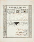"""Autographs:Statesmen, Stephen F. Austin, Branch T. Archer, and William H. Wharton First Texian Loan Certificate Signed. One page, 8.5"""" x 10.5"""", Ne..."""
