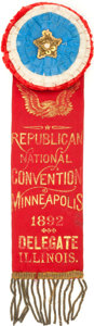 Political:Ribbons & Badges, 1892 Republican National Convention Badge....