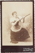 "Photography:Cabinet Photos, Cabinet Card of a Pretty Young San Francisco ""Cowgirl"" withRifle...."