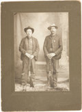 Photography:Cabinet Photos, Exceptional W. H. Wolverton Cabinet Card of Two Lawmen WithWinchester Rifles, Circa 1890-1900....