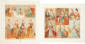 Antiques:Posters & Prints, Pair of French Chromolithographs of 17th Century Women's Costume. From Albert Charles Auguste Racinet's Le Costume Histori...