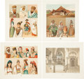 Antiques:Posters & Prints, Four French Illustrations of North African Costume andArchitecture. From Albert Charles Auguste Racinet's Le CostumeHist...