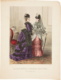 Antiques:Posters & Prints, Color Lithograph Plate of German Lady's Fashion Circa 1874. 10.5 inches x 14 inches. Beautifully detailed plate, numbered 23...