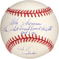 "Autographs:Baseballs, Bobby Thomson "" Military Inscription"" Single Signed Baseball...."