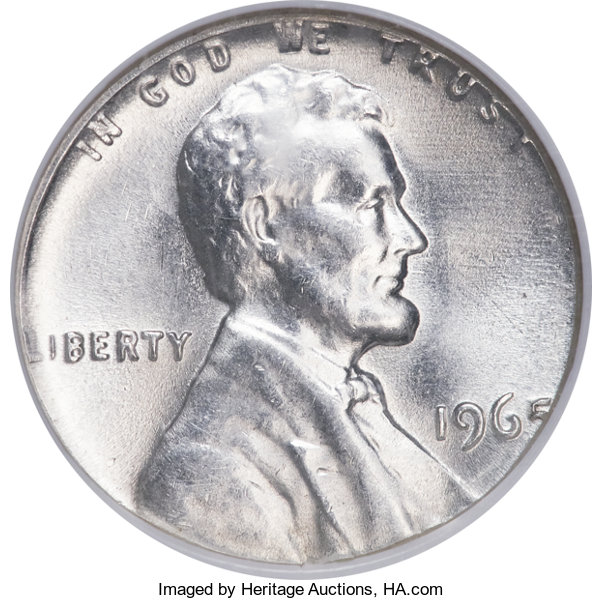 Errors 1965 1C Lincoln Cent Struck On A 90 Silver Dime Planchet
