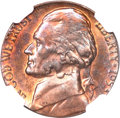 1953-S 5C Jefferson Nickel--Struck over a 1953-S Lincoln Cent--MS65 Red and Brown NGC