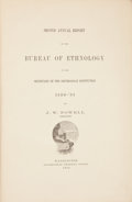 Books:First Editions, [American Ethnology]. J. W. Powell. Second Annual Report of theBureau of Ethnology to the Secretary of the Smithsonian ...