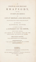 Books:Non-fiction, A Political and Military Rhapsody, on the Invasion and Defence of Great Britain and Ireland. London: Printed by W. Bulme...