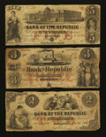 Obsoletes By State:Rhode Island, Providence, RI- Bank of the Republic $2 Sep. 4, 1855; $3 Sept. 1, 1855; $5 Feb. 4, 1856. ... (Total: 3 notes)