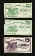 Obsoletes By State:Ohio, Aurora, OH- C. & C.R. Harmon & Root 5¢; 10¢; 50¢ 1862. ...(Total: 3 notes)