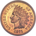 Proof Indian Cents, 1871 1C PR65 Red PCGS. CAC....