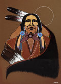 Works on Paper, FROM THE COLLECTION OF SUSAN & ALLEN COLES. RED BONE (American, 20th Century). Chief Eagle. Tempera on toned paper. 22...