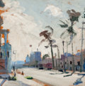 Texas, HARRY P. CARNOHAN (American, 1904-1969). 6th Avenue - SanDiego, 1955. Oil on panel. 16 x 16 inches (40.6 x 40.6 cm).In...