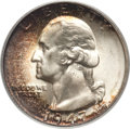 Washington Quarters: , 1947 25C MS67 PCGS. The obverse features a lovely crescent of deepcinnamon and amber patina along the left side, with silv...