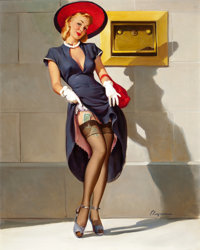 GIL ELVGREN (American, 1914-1980) Socking It Away (This Way I Draw More Investments; Investments Should Be...)<...