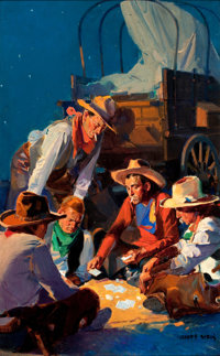 MODEST STEIN (American, 1871-1958) Western Story pulp cover, April 22, 1933 Oil on board 25.5 x 1