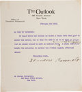 """Autographs:U.S. Presidents, Theodore Roosevelt Typed Letter Signed as editor of Outlook magazine. One page, 6.75"""" x 7.5"""", New York, February 13, 191..."""