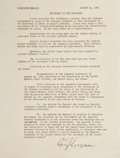 "Autographs:U.S. Presidents, Harry S. Truman Statement Signed as President Announcing theSurrender of Japan. One page, 8"" x 10.5"", [Washington], August ..."