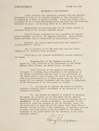 """Harry S. Truman Statement Signed as President Announcing the Surrender of Japan. One page, 8"""" x 10.5"""", [Washin..."""