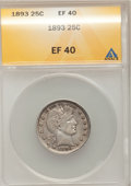 Barber Quarters: , 1893 25C XF40 ANACS. NGC Census: (1/230). PCGS Population (2/328). Mintage: 5,444,815. Numismedia Wsl. Price for problem fr...