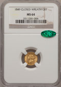 Gold Dollars, 1849 G$1 Closed Wreath MS64 NGC. CAC....