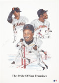 Baseball Collectibles:Others, Barry Bonds and Willie Mays Multi Signed Lithograph....