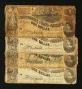 Confederate Notes:1862 Issues, T44 and T45 1862 $1's.. ... (Total: 4 notes)