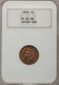 Proof Indian Cents, 1872 1C PR64 Red and Brown NGC....