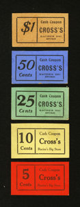 Obsoletes By State:Ohio, Racine, (OH)- Cross's Racine's Big Store Cash Coupons 5¢; 10¢; 25¢;50¢; $1. ... (Total: 5 notes)