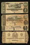 Confederate Notes:Group Lots, Confederate Group Lot Four Pieces.. ... (Total: 4 notes)