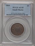 Two Cent Pieces, 1864 2C Small Motto AU55 PCGS....