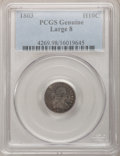 Early Half Dimes, 1803 H10C Large 8 PCGS Genuine. The PCGS number ending in .98suggests Damage as the reason, or perhaps one of the reasons,...