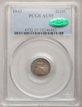 Seated Half Dimes: , 1843 H10C AU55 PCGS. CAC. PCGS Population (18/133). NGC Census:(11/165). Mintage: 1,165,000. Numismedia Wsl. Price for pro...