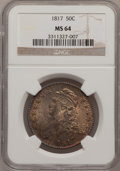 Bust Half Dollars, 1817 50C MS64 NGC. NGC Census: (14/7). PCGS Population (12/8).Mintage: 1,215,567. Numismedia Wsl. Price for problem free N...