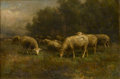 Fine Art - Painting, American:Modern  (1900 1949)  , THOMAS BIGELOW CRAIG (American, 1849-1924). Sheep atPasture, 1903. Oil on canvas. 12-1/4in. x 18in.. Signed atlower ri... (Total: 1 Item)