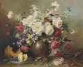 Fine Art - Painting, European:Other , ARTIST UNKNOWN (Late Nineteenth/Early Twentieth Century). StillLife with Flowers and Fruit. Oil on canvas. 23-1/2in. x ...(Total: 1 Item)