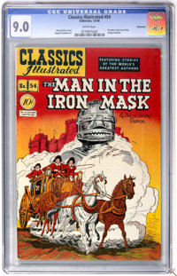 Classics Illustrated #54 The Man in the Iron Mask First Edition - Vancouver pedigree (Gilberton, 1948) CGC VF/NM 9.0 Whi...