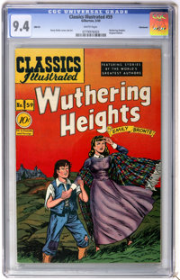 Classics Illustrated #59 Wuthering Heights First Edition - Vancouver pedigree (Gilberton, 1949) CGC NM 9.4 White pages...