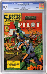 Classics Illustrated #70 The Pilot First Edition - Vancouver pedigree (Gilberton, 1950) CGC NM 9.4 White pages