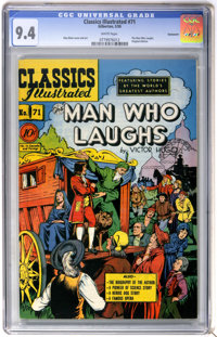 Classics Illustrated #71 The Man Who Laughs First Edition - Vancouver pedigree (Gilberton, 1950) CGC NM 9.4 White pages...
