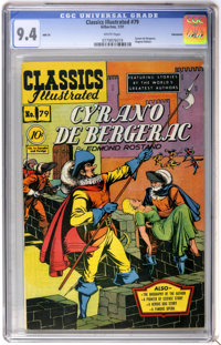 Classics Illustrated #79 Cyrano de Bergerac First Edition - Vancouver pedigree (Gilberton, 1951) CGC NM 9.4 White pages...