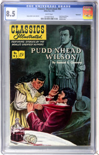 Classics Illustrated #93 Pudd'nhead Wilson First Edition - Vancouver pedigree (Gilberton, 1952) CGC VF+ 8.5 White pages...
