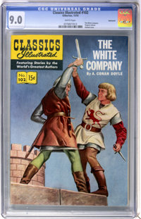 Classics Illustrated #102 The White Company First Edition - Vancouver pedigree (Gilberton, 1952) CGC VF/NM 9.0 White pag...