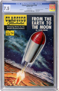 Golden Age (1938-1955):Science Fiction, Classics Illustrated #105 From Earth to the Moon First Edition -Vancouver pedigree (Gilberton, 1953) CGC VF- 7.5 White pages....